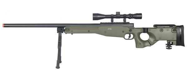 Well L96 AWP OD Green Bolt Action Sniper Rifle Kit with Folding Stock, Bipod, and 3-9x Scope