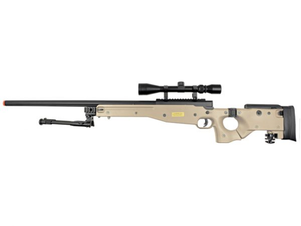 Well MB08 Bolt Action Airsoft Sniper Rifle w/ Scope and Bipod, Tan