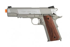 Colt 1911 .45 ACP CO2 Rail Gun Blowback Airsoft Pistol, Stainless-main
