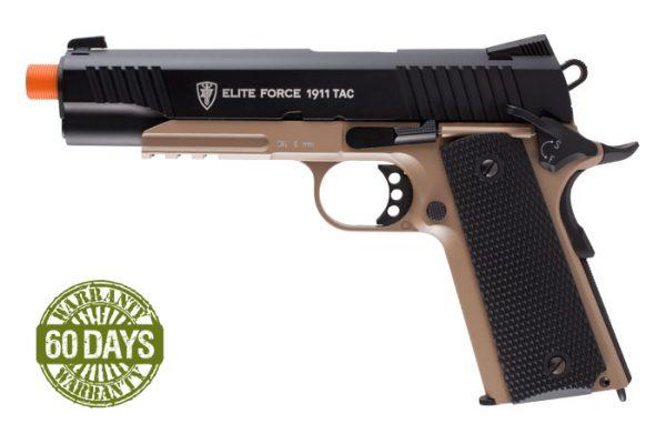 Elite Force 1911 TAC Blowback CO2 Airsoft Pistol, Black/Tan, Full Metal