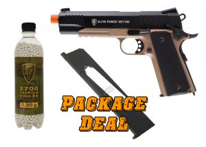 Elite Force 1911 TAC Blowback CO2 Airsoft Pistol Combo w Extended Mag & 2700 BBs-main