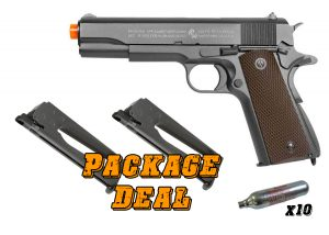 Full Metal Colt 1911 CO2 Blowback Airsoft Pistol Combo Package-main