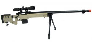 WELL L96 Airsoft Spring Sniper Rifle with Folding Stock, Scope, Bipod, and Monopod - FDE/Tan
