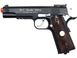 WG Full Metal US Combat 1911 CO2 Airsoft Pistol, Black-main