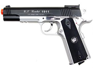WG Full Metal US Combat 1911 CO2 Airsoft Pistol, BlackSilver