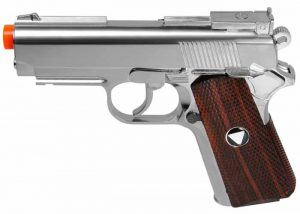 WGTSD Metal M1911 CO2 Pistol, Chrome w Wood Grip-main