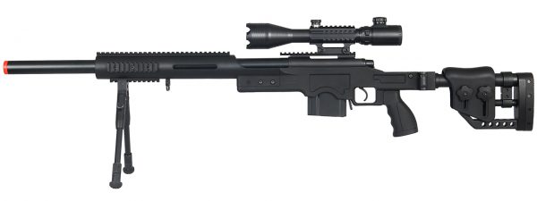 Well MB4410 Bolt Action Sniper Rifle w Illuminated Scope & Bipod, Black-main