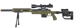 Well MB4410 Bolt Action Sniper Rifle wIlluminated Scope & Bipod, OD Green-main