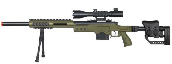 Well MB4410 Bolt Action Sniper Rifle wIlluminated Scope & Bipod, OD Green-main