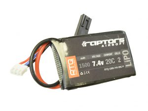 Raptors Airsoft RTQ 7.4V 1500 mAh 20C LiPO Battery for PEQ/AN-15 Box