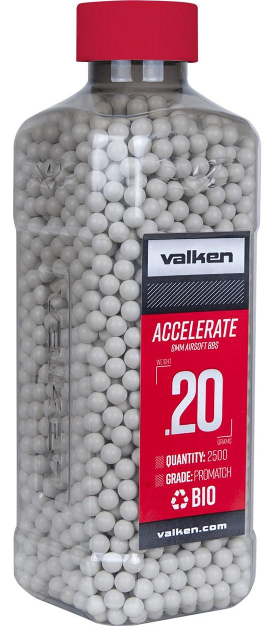 Valken Accelerate 0.20g BBs, 2500 CT., White, Bio