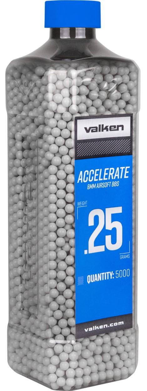 Valken Accelerate 0.25g BBs, 5000 CT., White