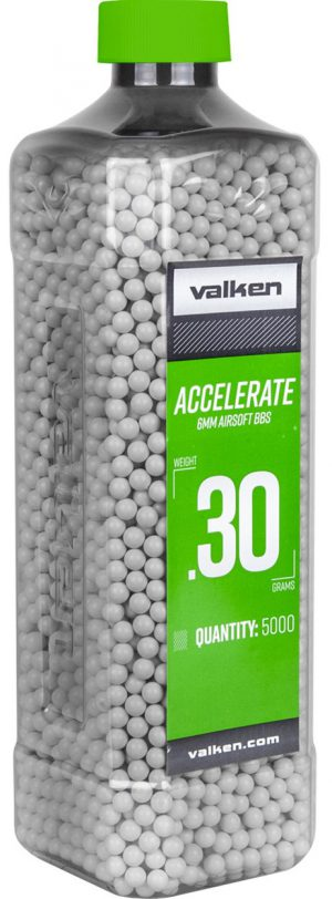 Valken Accelerate 0.30g BBs, 5000 CT., White