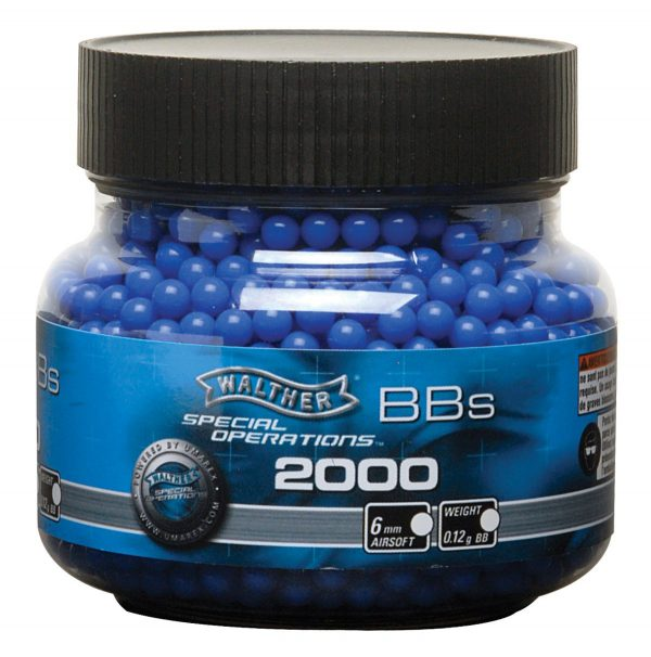 Walther 0.12g 6mm Airsoft BBs, Blue, 2000ct Bottle